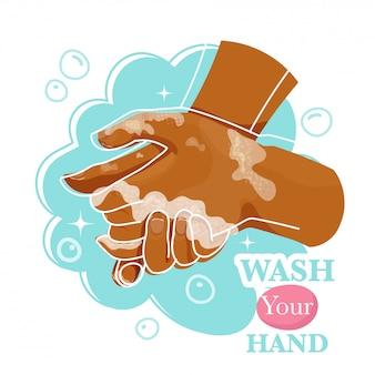 Händewaschen mit seifenmann zur vorbeugung von coronaviren, hygiene gegen die ausbreitung von coronaviren.
