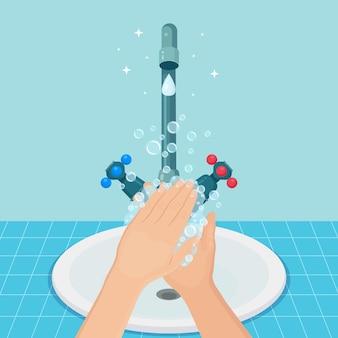 Händewaschen mit seifenschaum, gelblasen. wasserhahn, wasserhahnleck. persönliche hygiene, tagesablauf Premium Vektoren