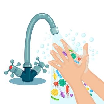 Händewaschen mit seifenschaum, peeling, gelblasen. wasserhahn, wasserhahnleck. befreien sie sich von keimen, bakterien, mikroben und viren. persönliche hygiene, tagesablauf. körper reinigen. cartoon design