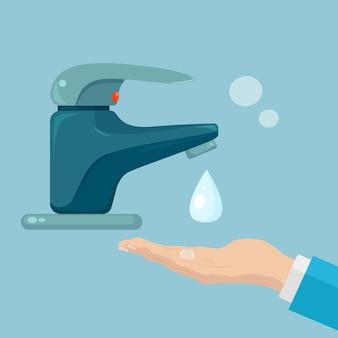 Händewaschen mit seifenschaum, peeling, gelblasen. wasserhahn, wasserhahnleck. persönliche hygiene, tagesablauf. körper reinigen