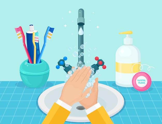 Händewaschen mit seifenschaum, peeling, gelblasen.