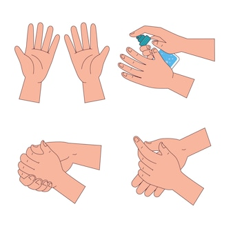 Händewaschset design, hygiene waschen gesundheit und sauber