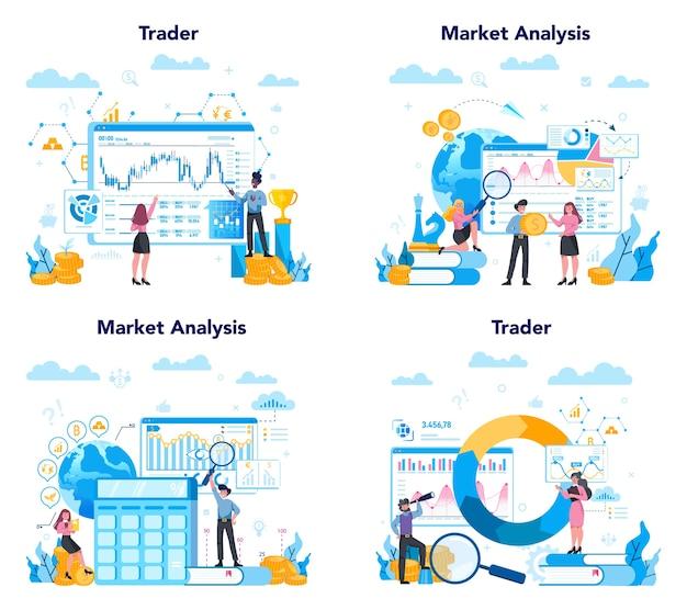Händler, finanzinvestitionskonzept festgelegt. kauf-, verkaufs- oder verlustgewinne, händlerstrategie. idee der geldsteigerung und finanzierung des wachstums.