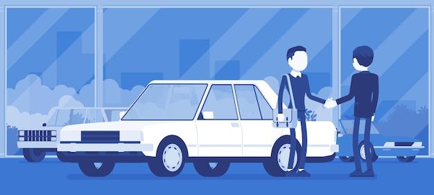 Händler im autohaus zeigt fahrzeug zum verkauf an. männlicher automobilverkäufer, kunde trifft eine vereinbarung in der handelsagentur, mann, der ein neues auto kauft, geschäft im geschäft. vektorillustration, gesichtslose charaktere