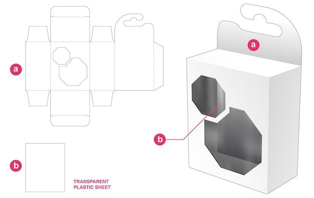 Hängebox und achteckiges fenster mit stanzschablone aus transparenter plastikfolie
