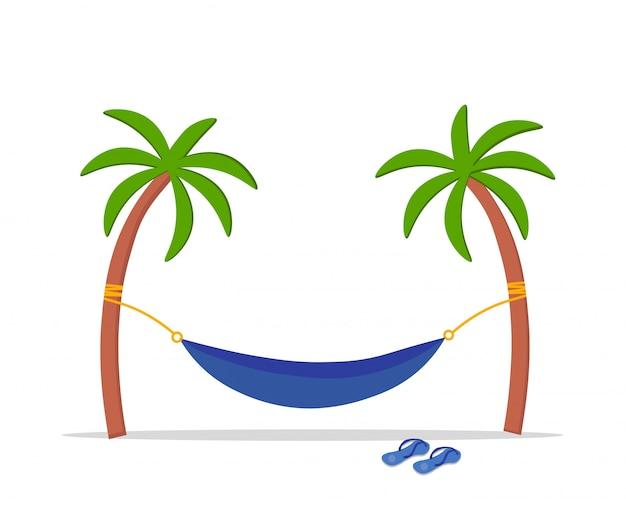 Hängematte, die in der mitte von zwei palmen hängt