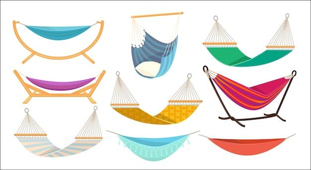 Hängematte. entspannen sie sich in der dekorativen bunten stoffhängematten-hängematten-schaukel im freien. illustration hängemattenschaukel, entspannen sie bequemes schaukelbett