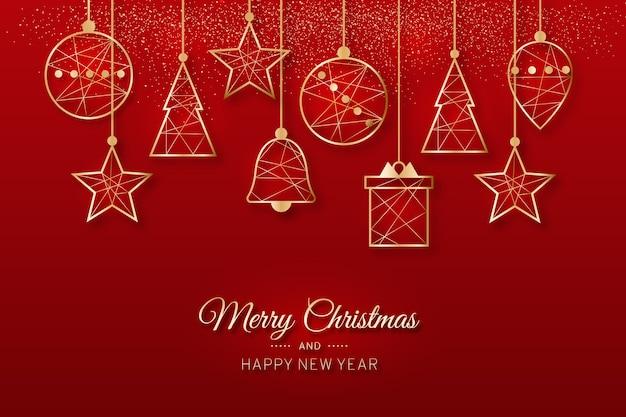 Hängende baumdekoration der frohen weihnachten in den roten tönen