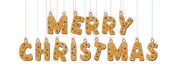 Hängende buchstaben von lebkuchen. frohe weihnachten phrase.