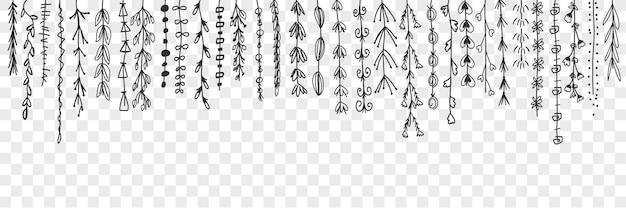 Hängende dekorative linien mit blättern gekritzel gesetzt