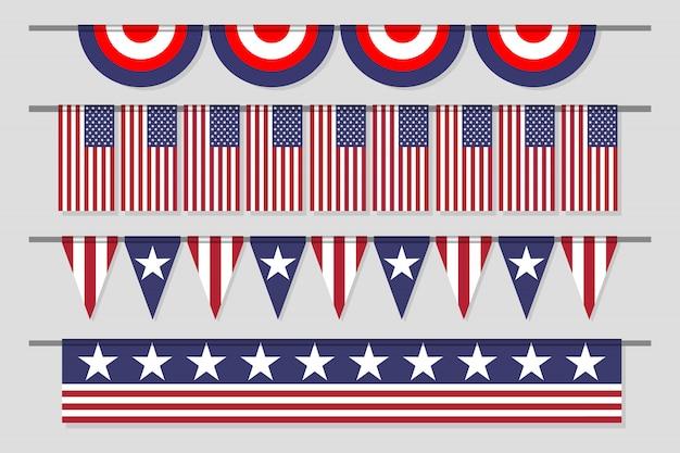 Hängende dekorative usa-flagge eingestellt für unabhängigkeitstag