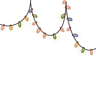 Hängende dekorative weihnachtslichterkettengirlande mit bunten lampen handgezeichnete flache vektorillust...