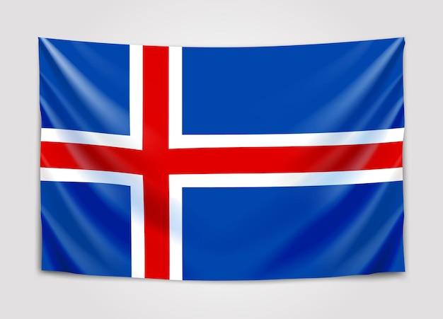 Hängende flagge von island. königreich island.