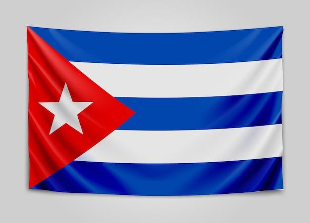 Hängende flagge von kuba. republik kuba. kubanische nationalflagge