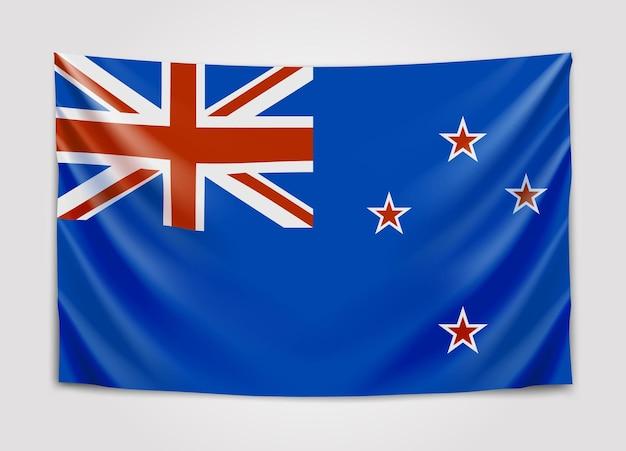 Hängende flagge von neuseeland. neuseeland.