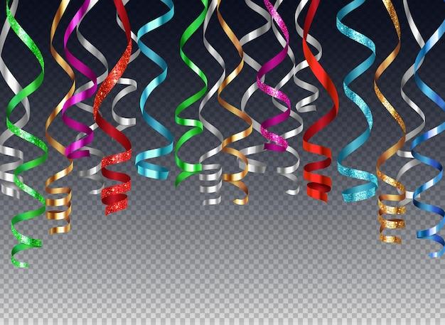 Hängende gekräuselte bänder serpentinenhintergrund realistische illustration