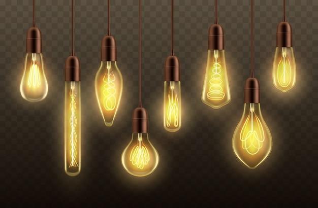 Hängende glühbirnen, deckenleuchte realistisch