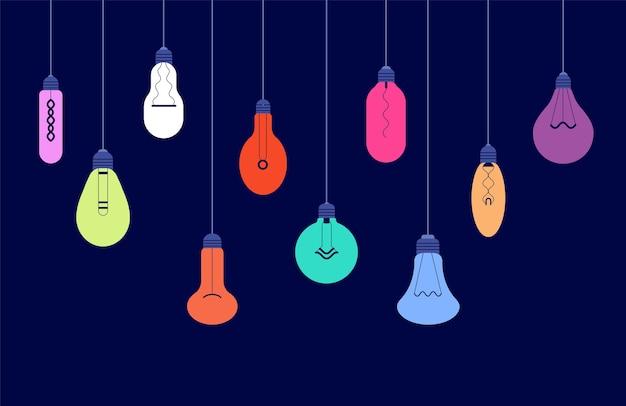 Hängende glühbirnen. kreative ideen und lichtenergietechnologiekonzept mit leuchtendem glühbirnenhintergrund. hängende lichtlampe, bunte illustration der glühbirnenkreativitätsidee