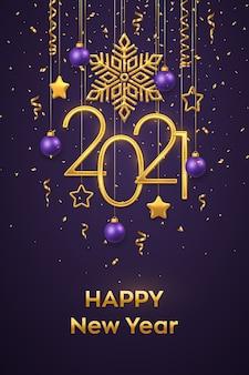 Hängende goldene metallische zahlen 2021 mit glänzender schneeflocke, metallischen 3d-sternen, kugeln und konfetti auf lila hintergrund