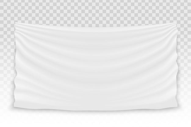 Hängende leere weiße stoffgewebetextilfahne.