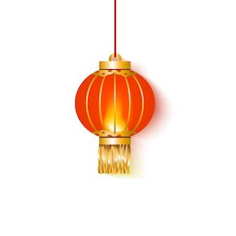 Hängende rot leuchtende chinesische papierlaterne