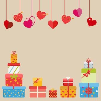 Hängende rote herzen und mehrfarbige geschenkboxen auf beigem hintergrund. flaches design
