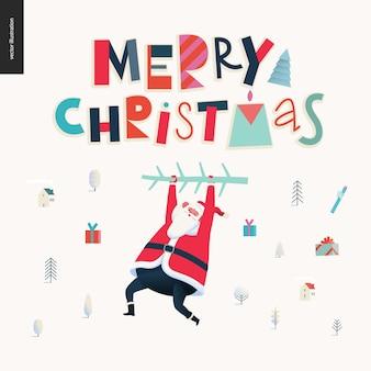 Hängende santa claus - grußkarte der frohen weihnachten und des guten rutsch ins neue jahr