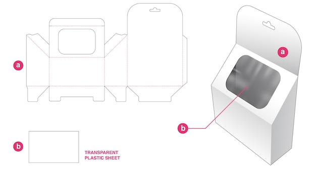 Hängende schräge box und fenster mit transparenter plastikfolien-stanzschablone