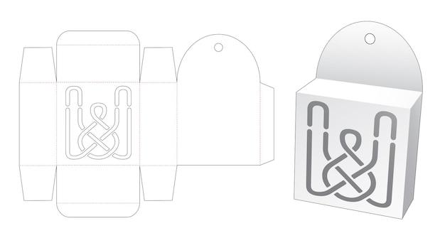 Hängende verpackungsbox mit stanzschablone mit schablonenlinie