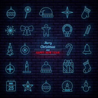 Hängende weihnachtsdekorationen. neonschilder.