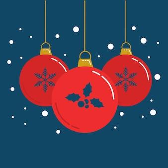 Hängende weihnachtskugeln und verzierungsvektor