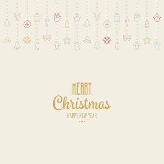 Hängenden hintergrund der bunten ikonenelemente der weihnachten