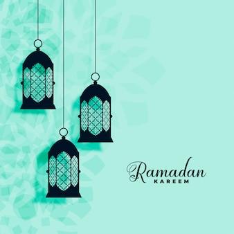 Hängender islamischer lampendekoration ramadan-kareem hintergrund