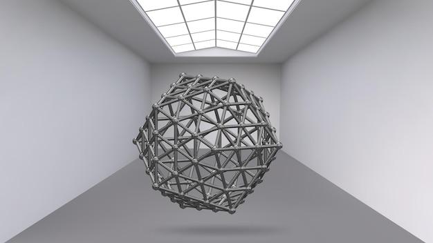 Hängendes abstraktes polygonales objekt. ausstellungsraum für objekte der modernen kunst. science-fiction-objekte.