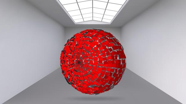 Hängendes abstraktes polygonales objekt. der weiße raum mit dem motiv in der mitte. ausstellungsraum für objekte der modernen kunst. science-fiction-objekte. strukturelles volumetrisches gitter.