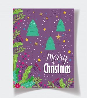 Hängendes baumblumenlaub spielt plakat der frohen weihnachten der feier die hauptrolle