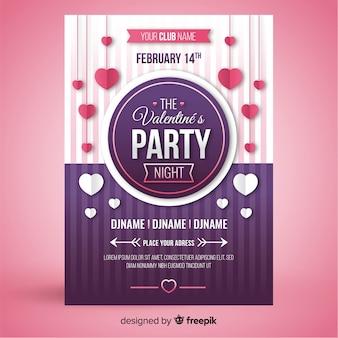 Hängendes herz-valentinsgruß-partyplakat