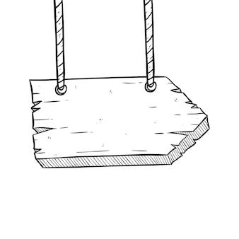 Hängendes hölzernes brett mit seil und dem verwenden der handzeichnung oder der gekritzel-art