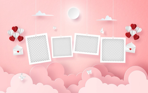 Hängendes leeres foto auf dem himmel mit buchstaben und ballon