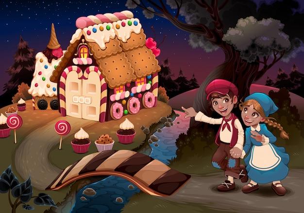 Hänsel und gretel in der nähe des süßigkeitenhauses