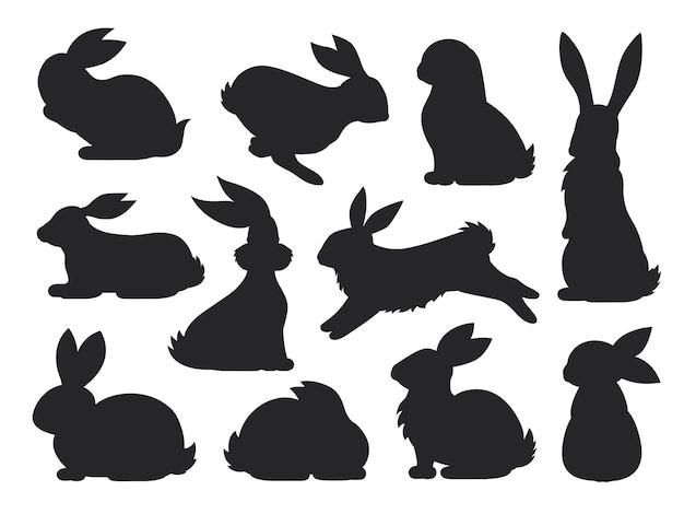 Häschen haustier silhouette in verschiedenen posen. hasen- und kaninchensammlung. satz von niedlichen kaninchen.
