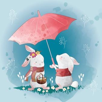 Häschen-liebe im regen