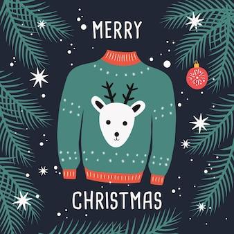 Hässliche weihnachten hässlichen pullover mit rentier und zweigen.