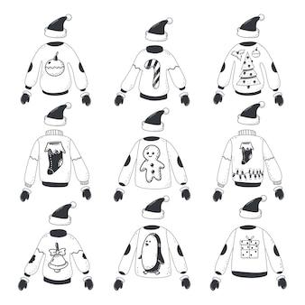 Hässlicher weihnachtspullover mit weihnachtsmütze und fäustlingen winterkleidung auf lokalem hintergrund lokalisiert