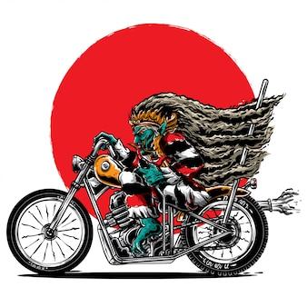 Hässliches motorrad mit monsterritt