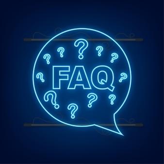 Häufig gestellte fragen faq-banner. neon-symbol. computer mit fragesymbolen. vektor-illustration.