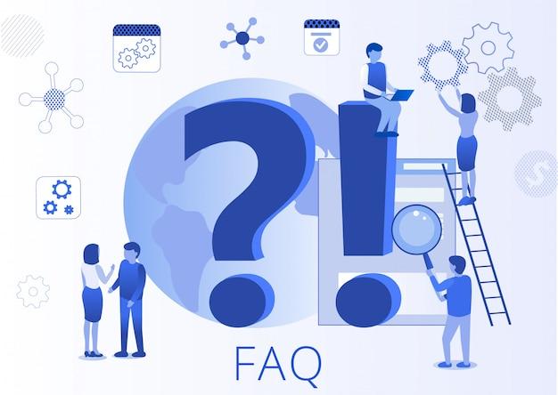 Häufig gestellte fragen (faq) flache landing page