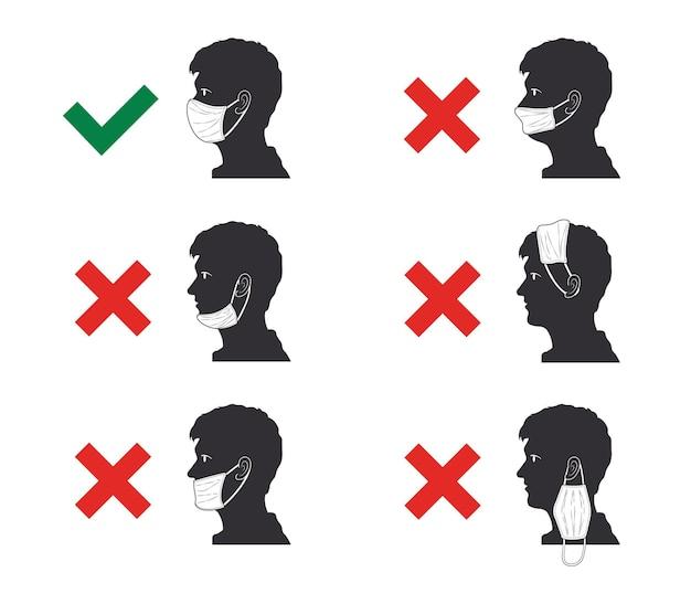 Häufige fehler beim tragen von masken die richtige und falsche art, eine maskenvektorillustration zu tragen