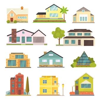 Häuschen und verschiedene immobilienbauikonen. wohnhaussammlung im neuen cartoonstil.