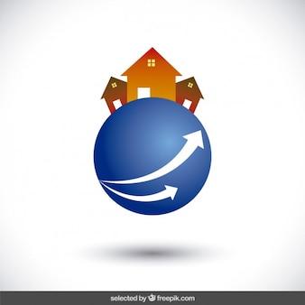 Häuser auf kugel-logo